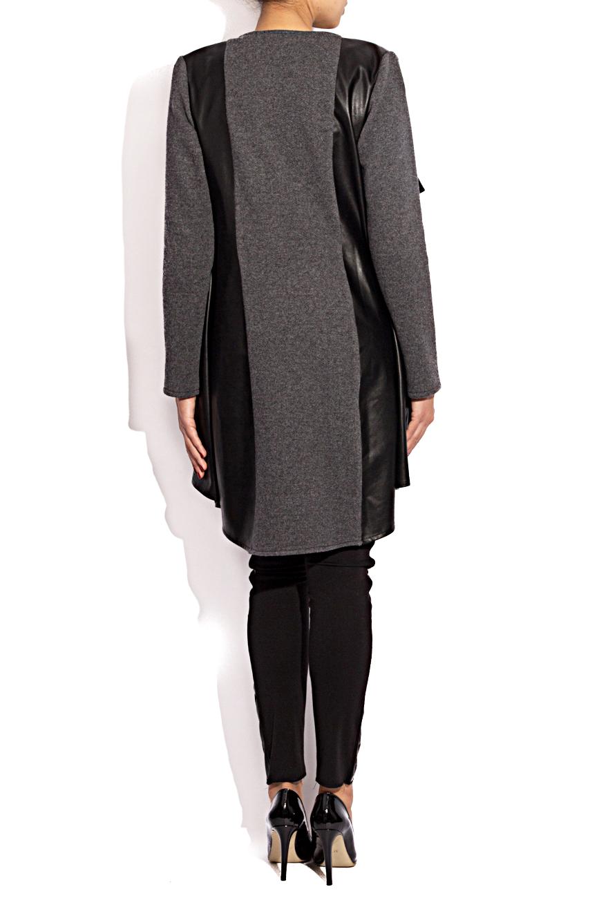 Leather and wool cardigan Karmen Herscovici image 2