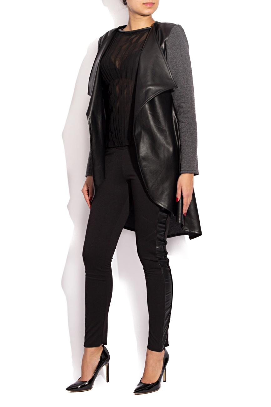 Leather and wool cardigan Karmen Herscovici image 1