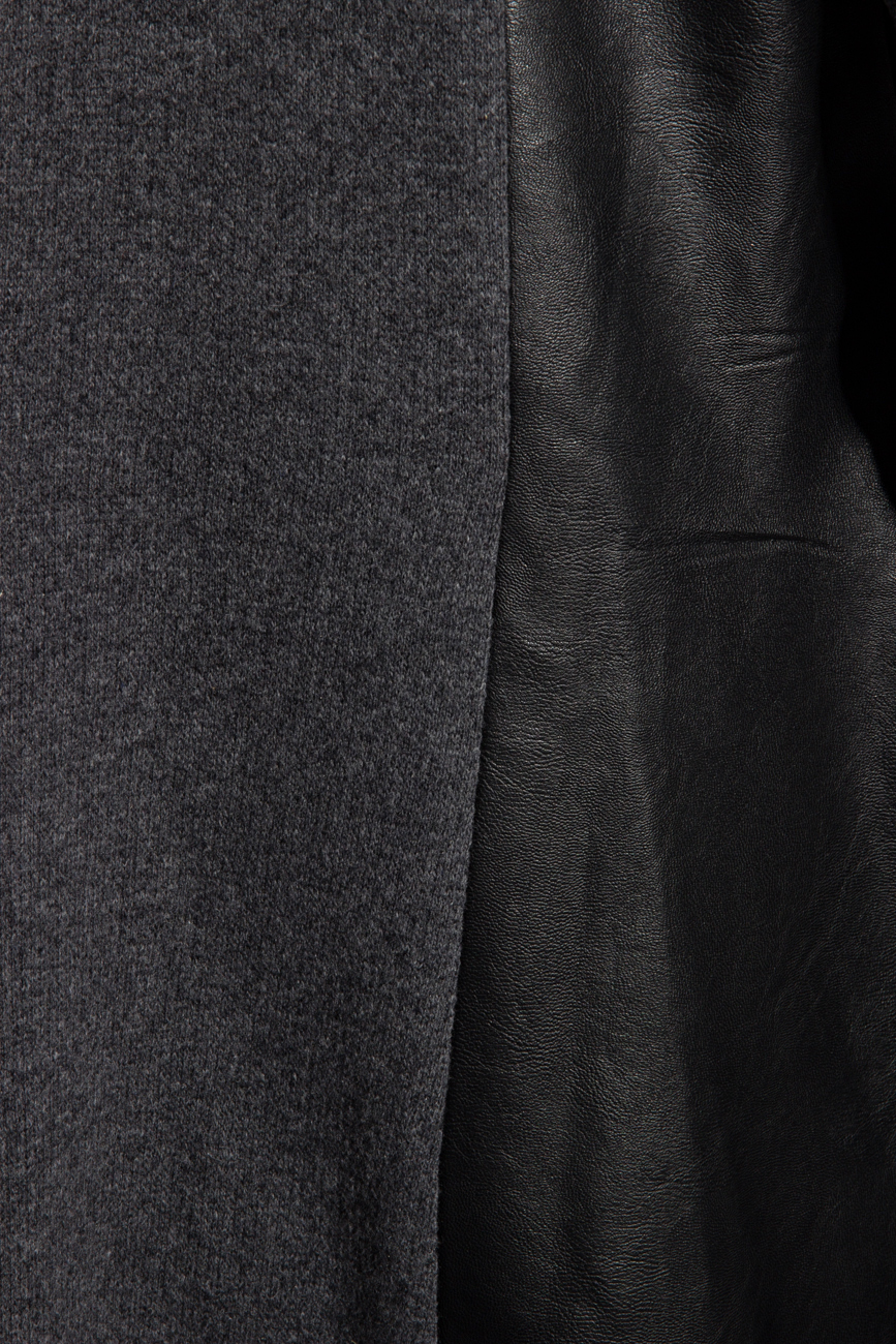 Leather and wool cardigan Karmen Herscovici image 3