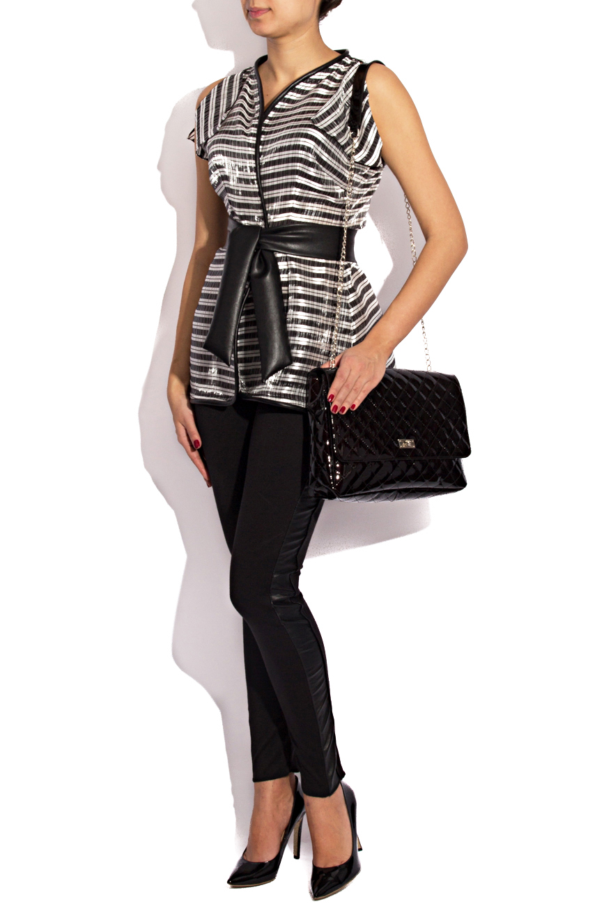 Silver blouse with stripes Karmen Herscovici image 1