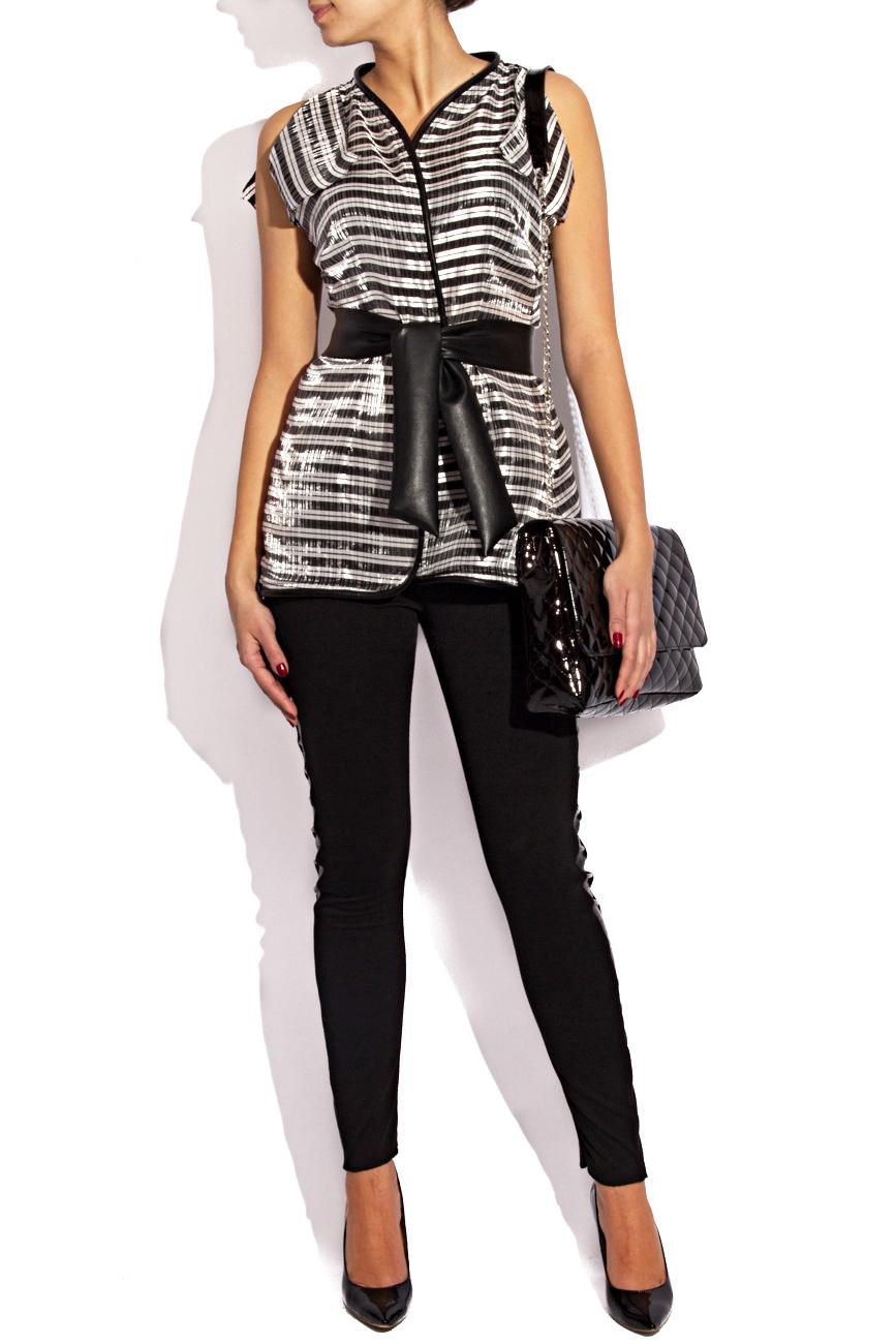 Silver blouse with stripes Karmen Herscovici image 0