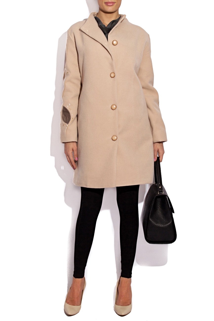 Beige coat with manual painting B.A.D. Style by Adriana Barar image 1