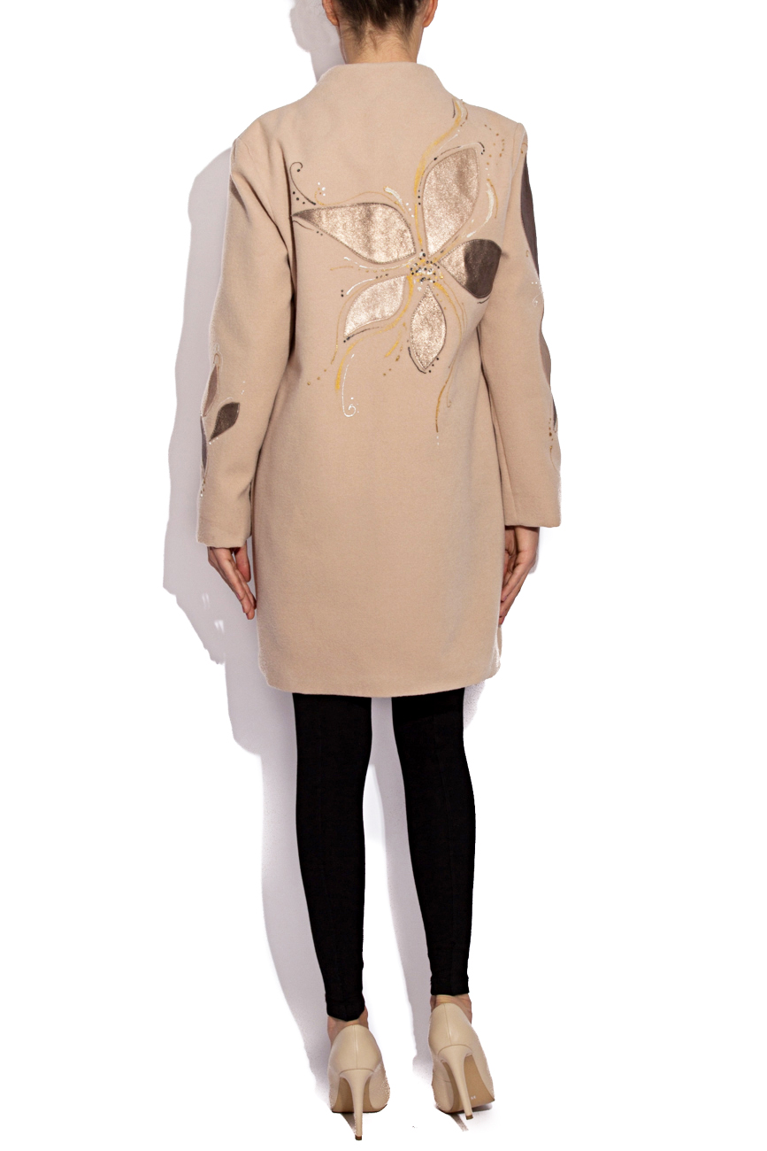 Beige coat with manual painting B.A.D. Style by Adriana Barar image 3