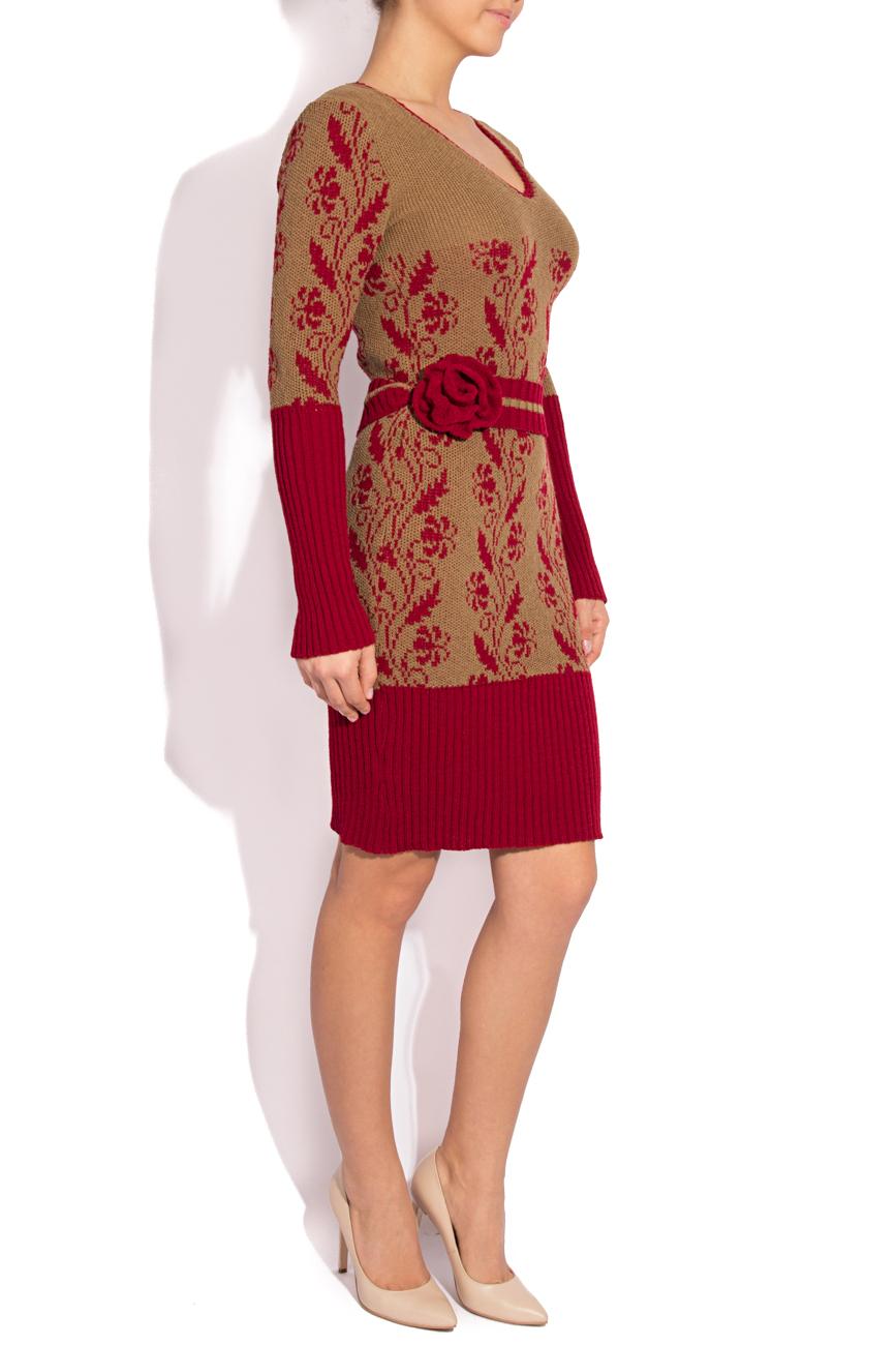 Rochie tricotata crem cu visiniu T'esha by Diana Tatucu imagine 1