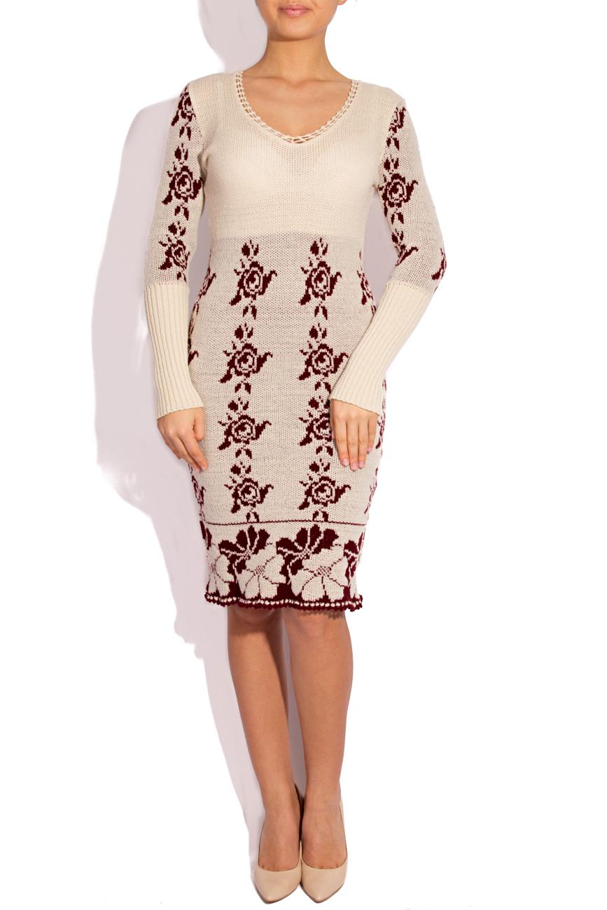 Rochie tricotata  ivory si visiniu T'esha by Diana Tatucu imagine 0