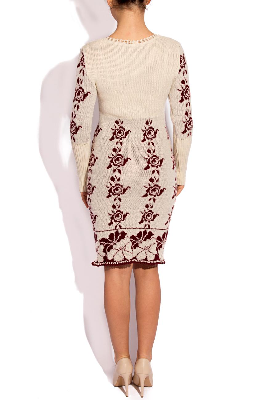 Rochie tricotata  ivory si visiniu T'esha by Diana Tatucu imagine 2