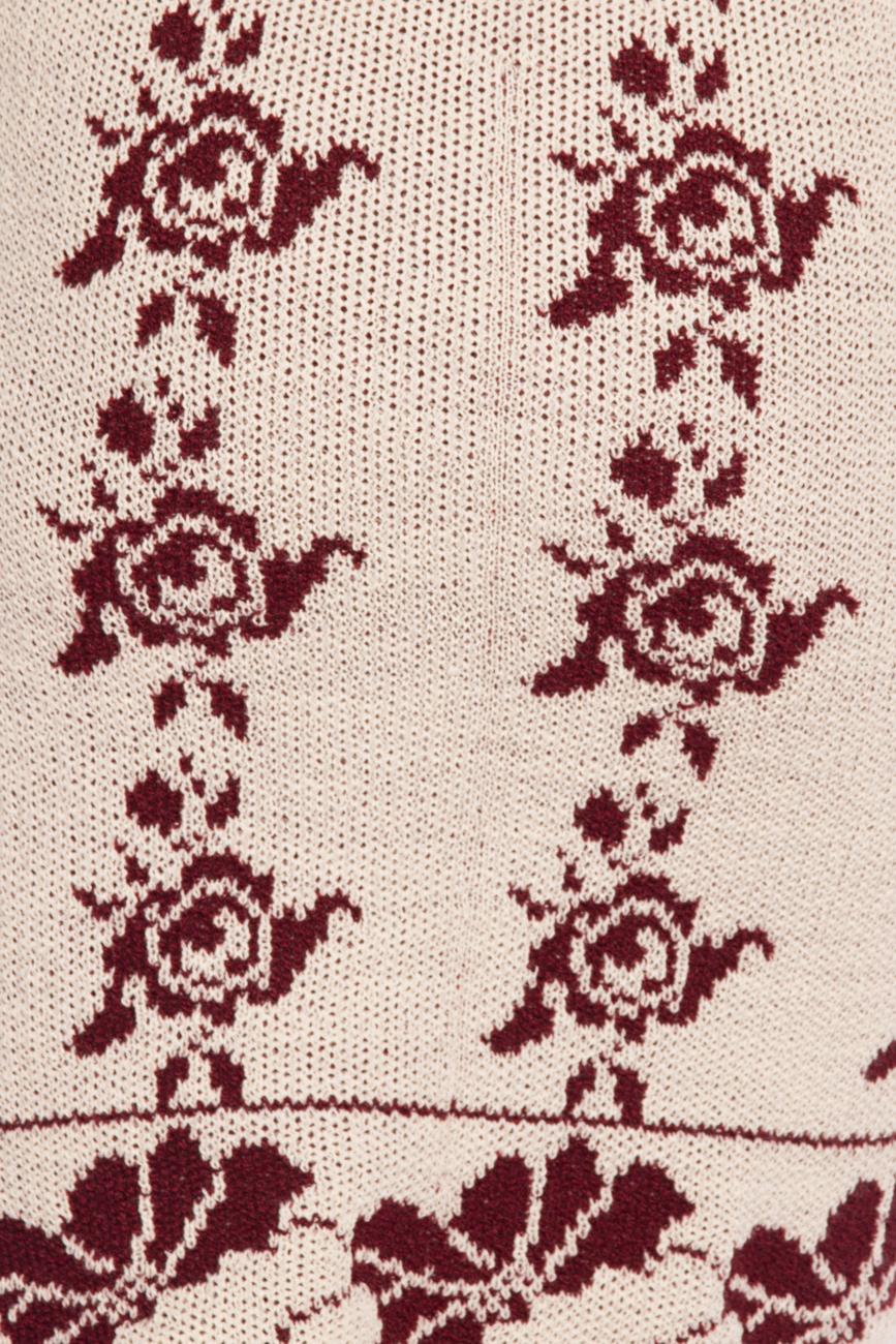 Rochie tricotata  ivory si visiniu T'esha by Diana Tatucu imagine 3