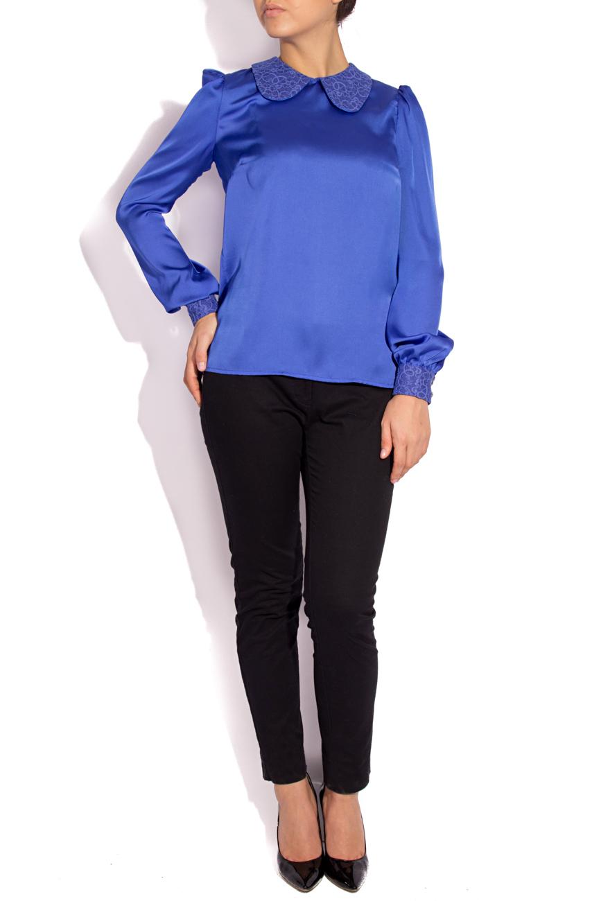 Blue satin veil  blouse  T'esha by Diana Tatucu image 0