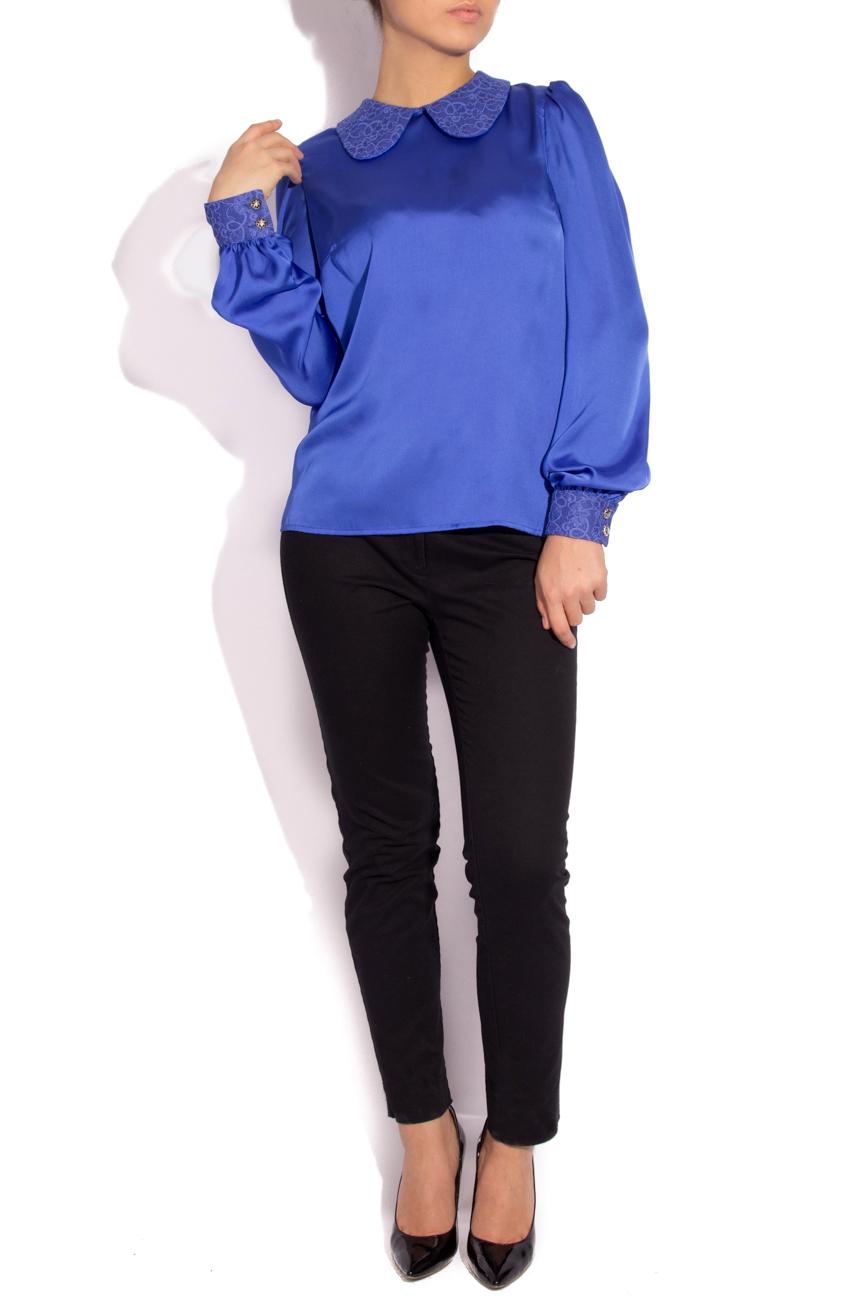 Blue satin veil  blouse  T'esha by Diana Tatucu image 1