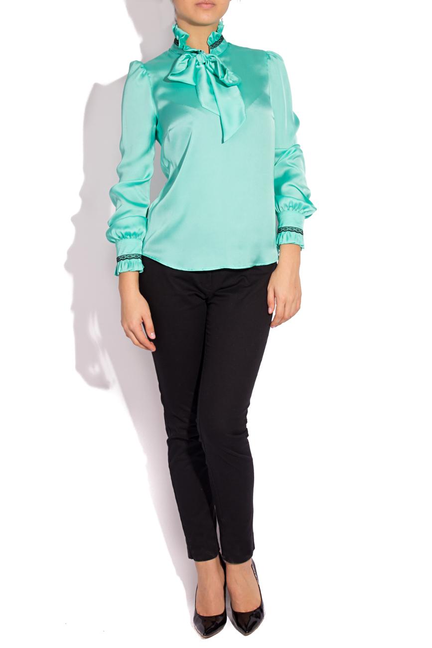 Turquoise satin veil blouse  T'esha by Diana Tatucu image 1