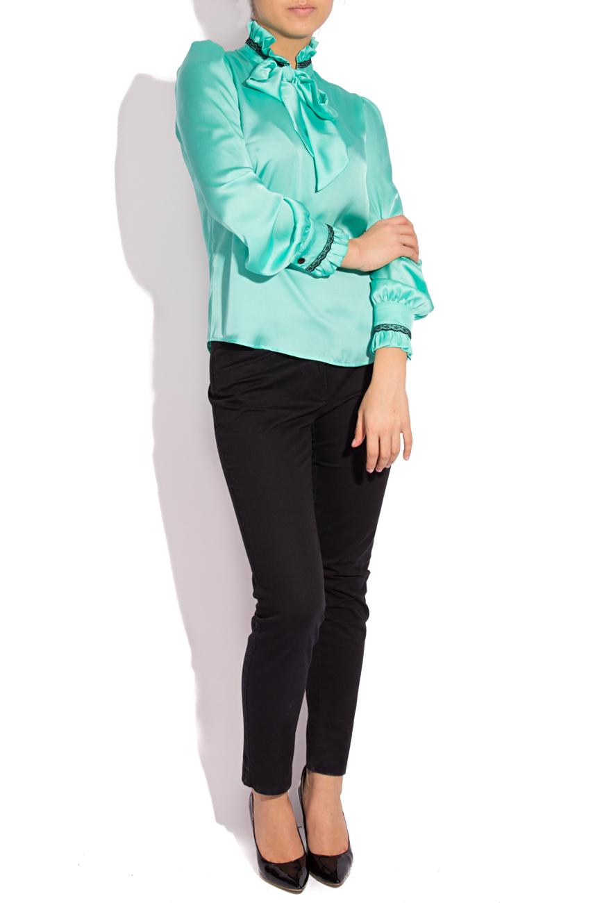 Bluza voal satinat turquoise T'esha by Diana Tatucu imagine 0