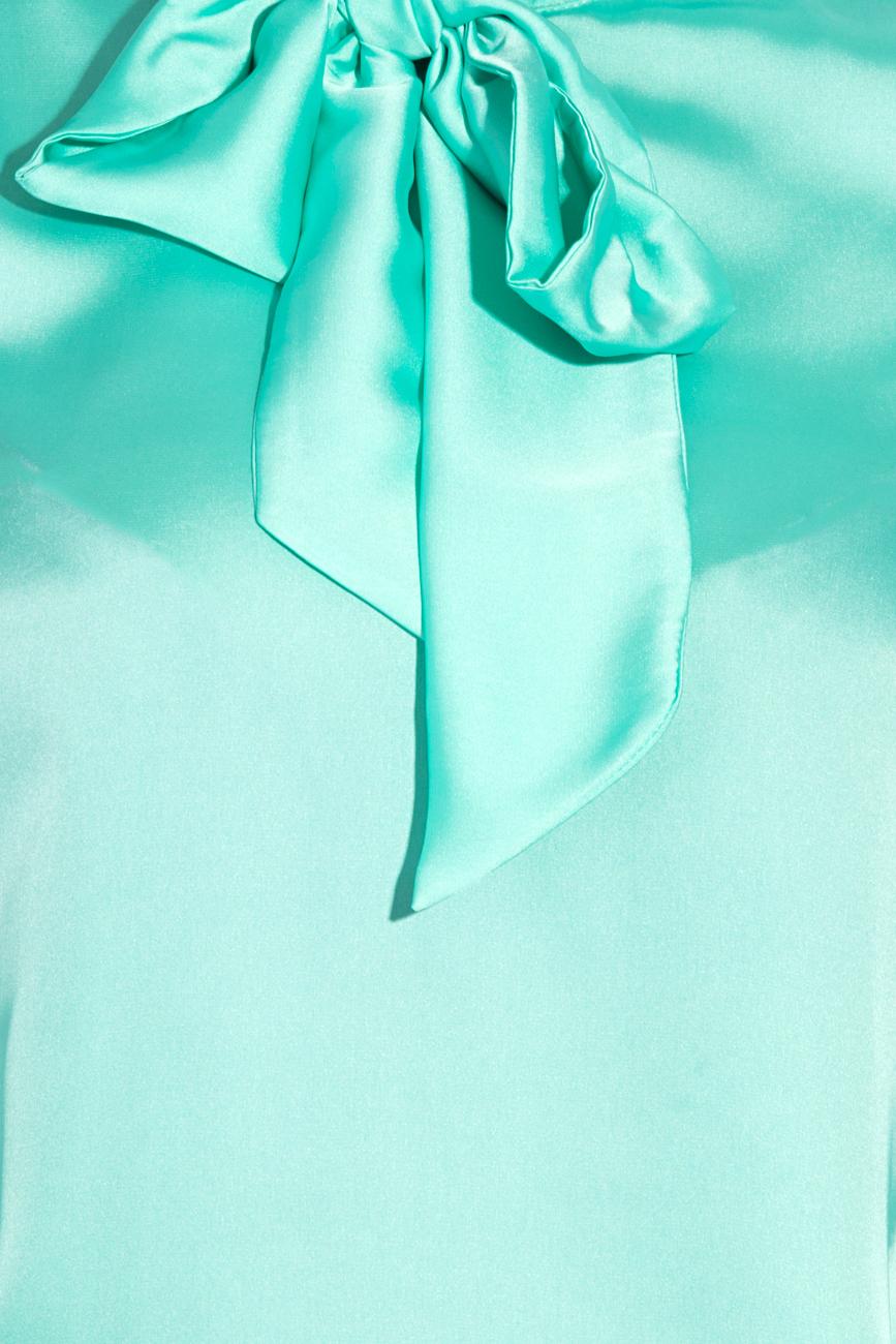 Turquoise satin veil blouse  T'esha by Diana Tatucu image 3