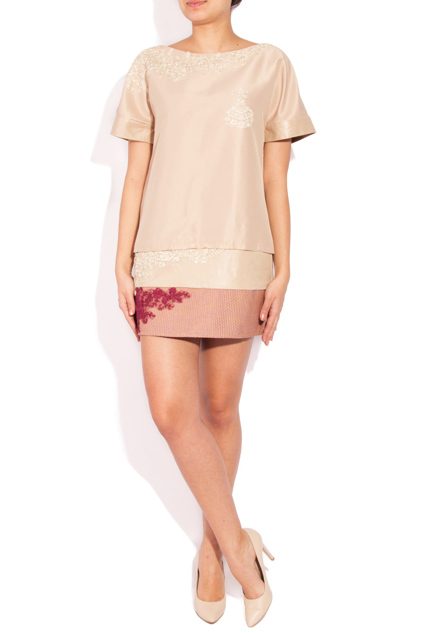 Beige dress with embroidery Simona Semen image 0