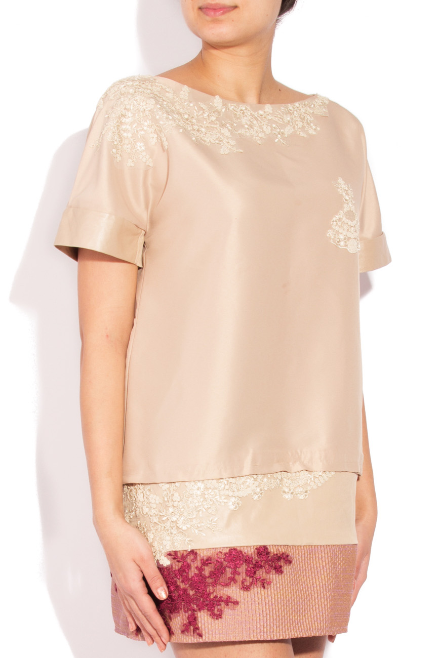 Beige dress with embroidery Simona Semen image 1