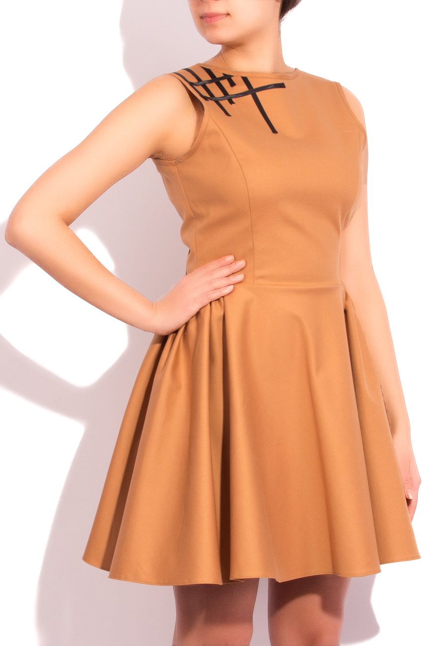 Beige dress with black bands applications Arina Varga image 1