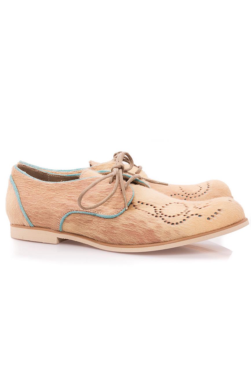 Beige pony fur shoes Mono Shoes by Dumitru Mihaica image 1