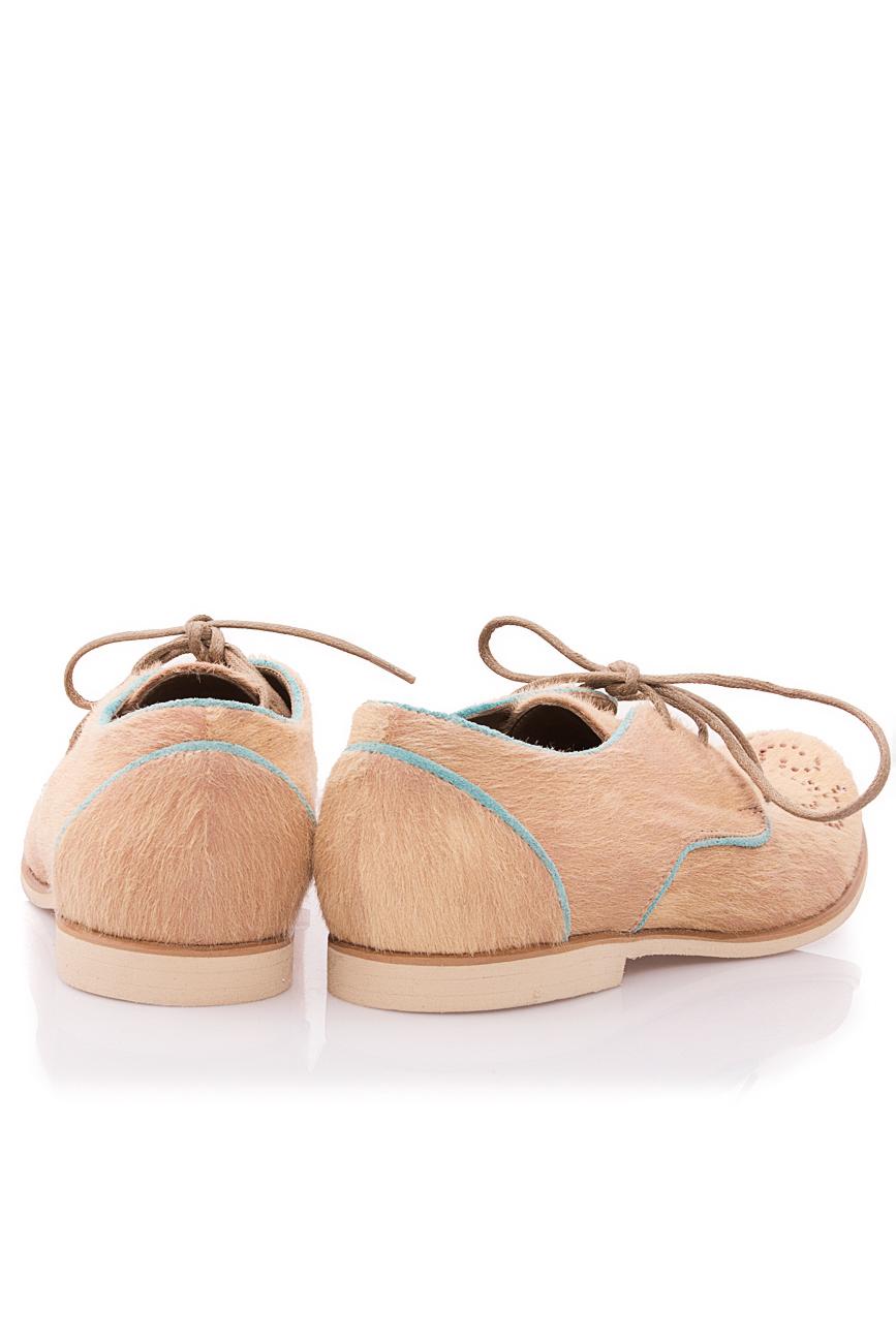Beige pony fur shoes Mono Shoes by Dumitru Mihaica image 2
