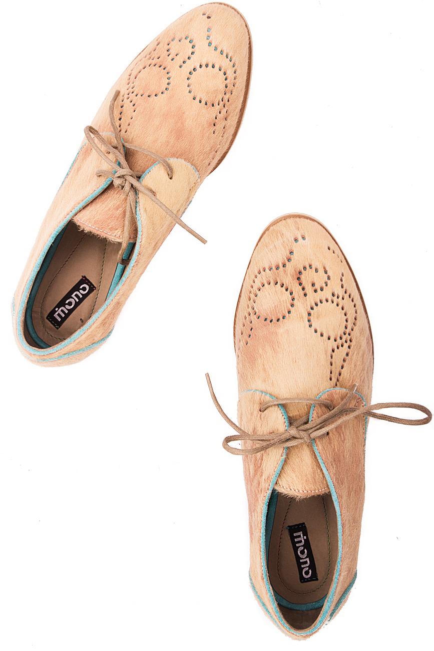 Beige pony fur shoes Mono Shoes by Dumitru Mihaica image 3