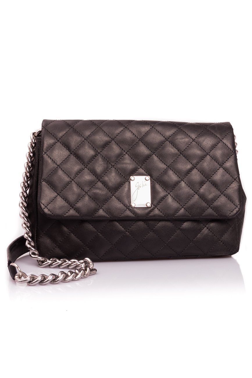 Black quilted leather bag Giuka by Nicolaescu Georgiana  image 1