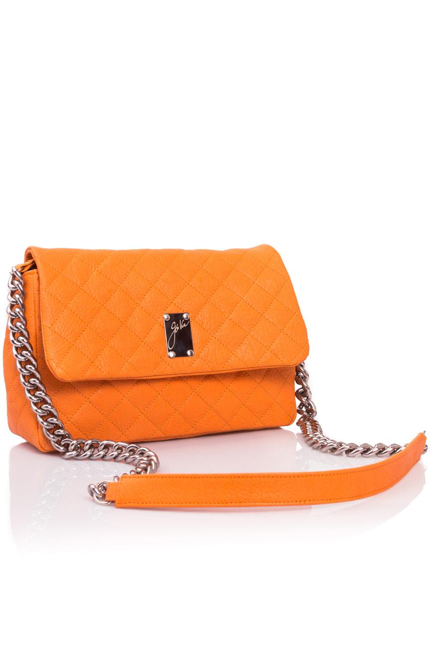 Orange quilted leather bag Giuka by Nicolaescu Georgiana  image 0