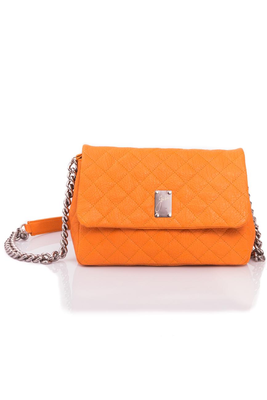 Orange quilted leather bag Giuka by Nicolaescu Georgiana  image 1