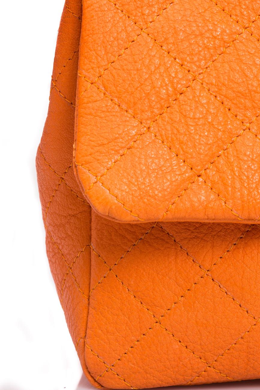 Orange quilted leather bag Giuka by Nicolaescu Georgiana  image 2