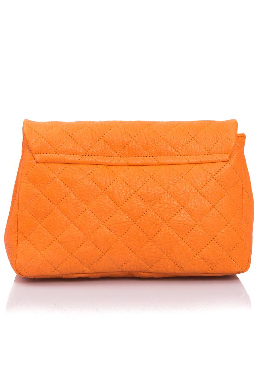 Orange quilted leather bag Giuka by Nicolaescu Georgiana  image 4