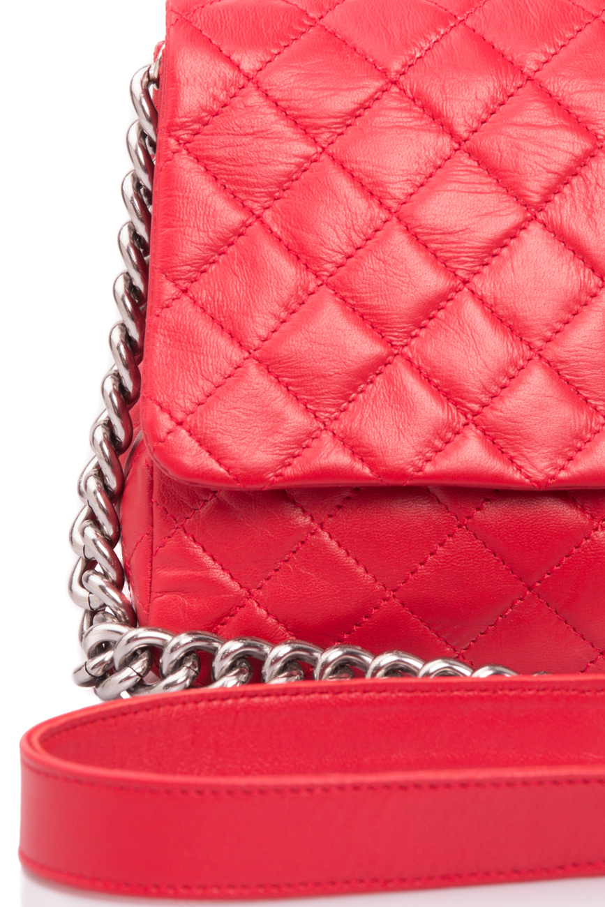 Intense red quilted leather bag Giuka by Nicolaescu Georgiana  image 2