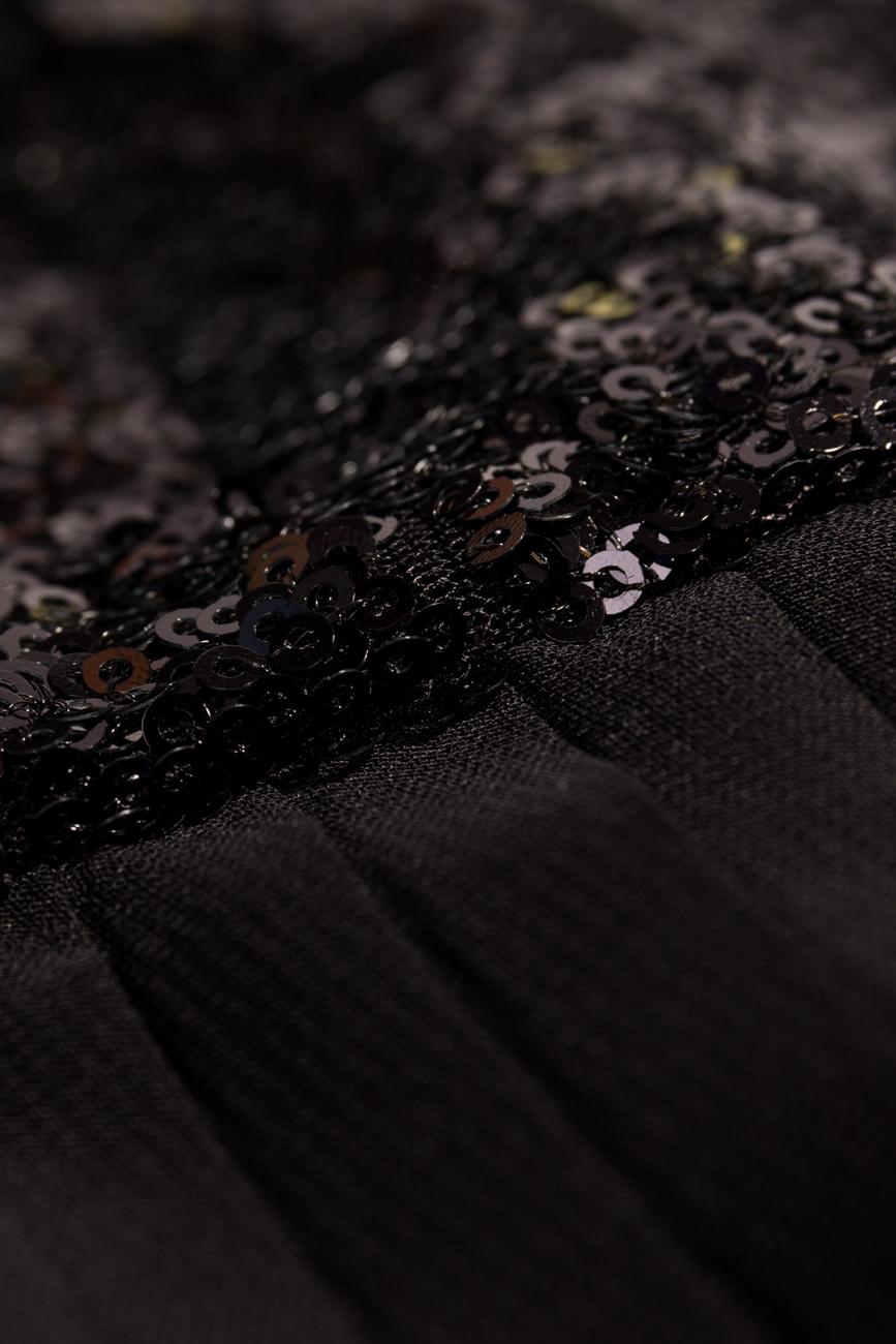 Rochie midi neagra cu paiete in talie Dorin Negrau imagine 3