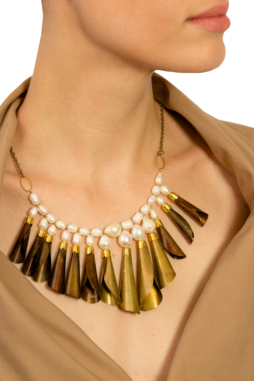 Brass necklace with white pearls Iuliana Asoltanei image 3