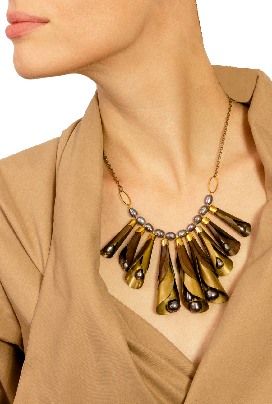 Brass necklace with gray pearls Iuliana Asoltanei image 3