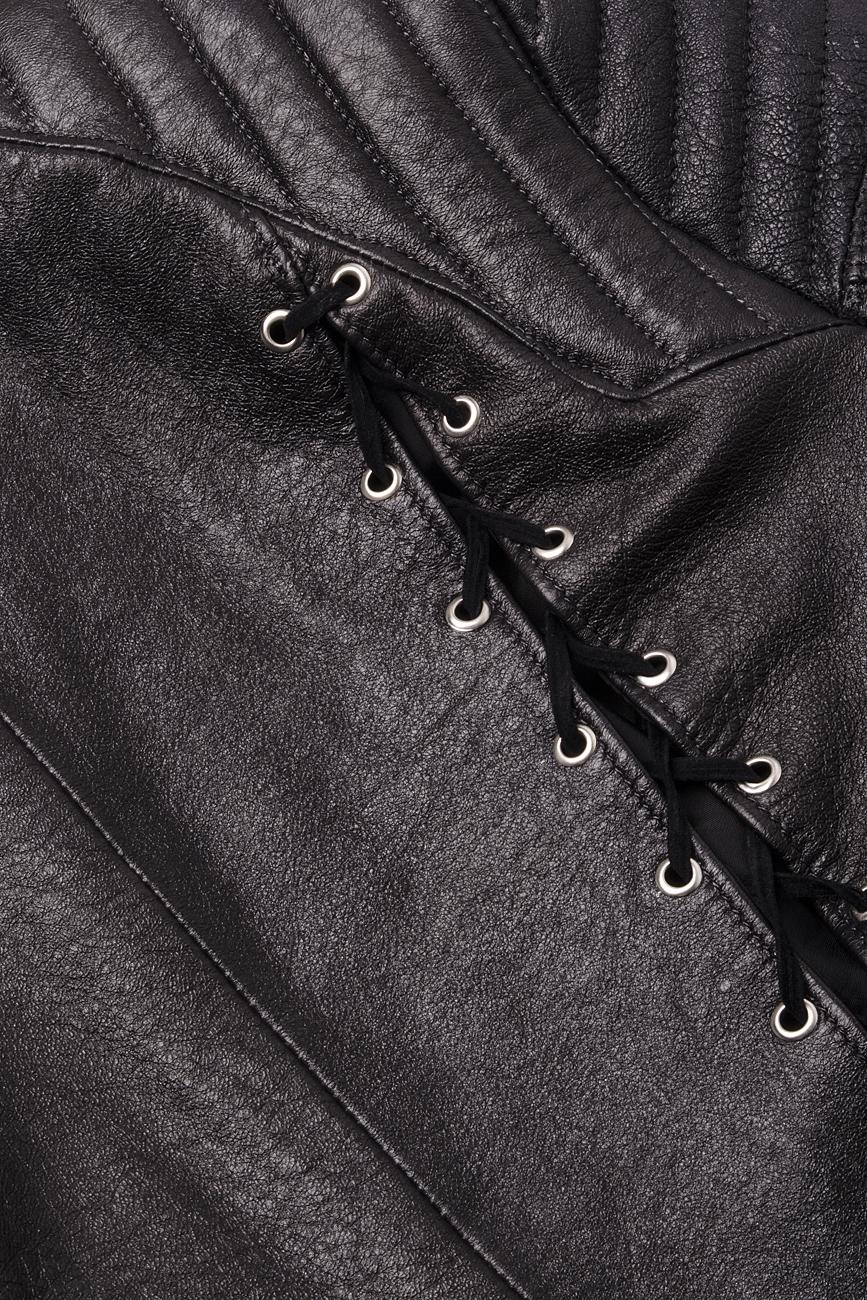 Jacheta neagra din piele tip motociclist B.A.D. Style by Adriana Barar imagine 3