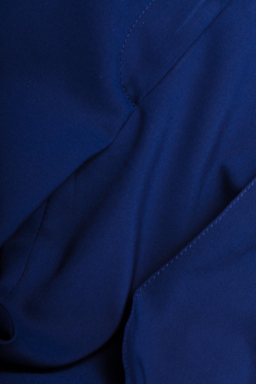 Pantaloni pana din bumbac bleumarin Lena Criveanu imagine 3