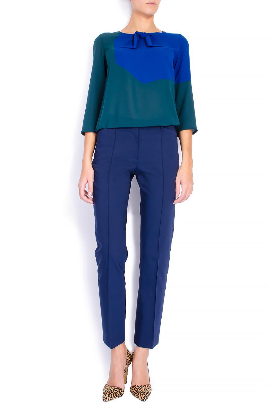 Pantaloni pana din bumbac bleumarin Lena Criveanu imagine 0