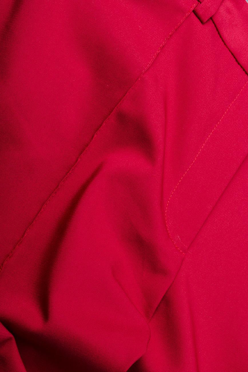 Pantaloni pana din bumbac rosu Lena Criveanu imagine 3