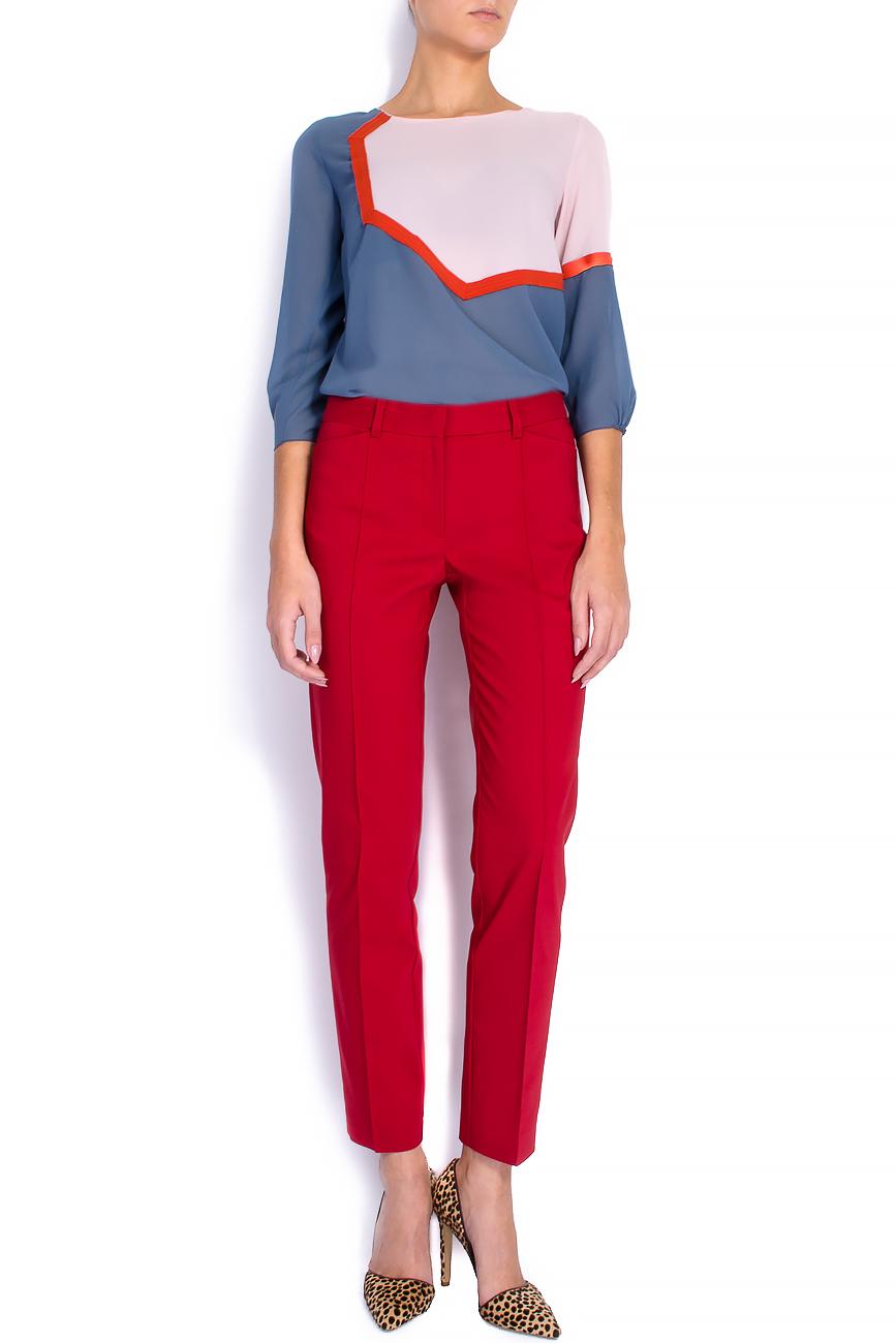 Pantaloni pana din bumbac rosu Lena Criveanu imagine 0