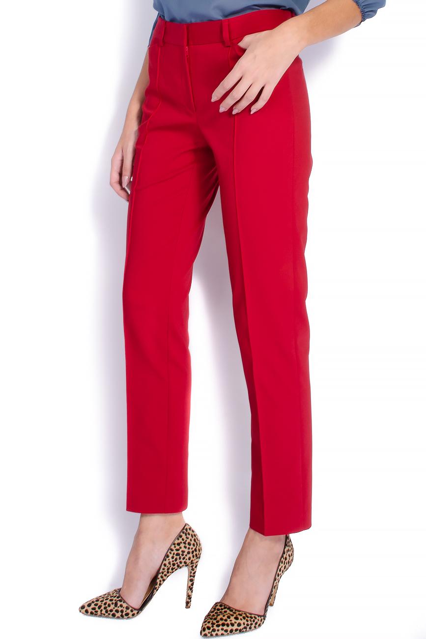 Pantaloni pana din bumbac rosu Lena Criveanu imagine 1