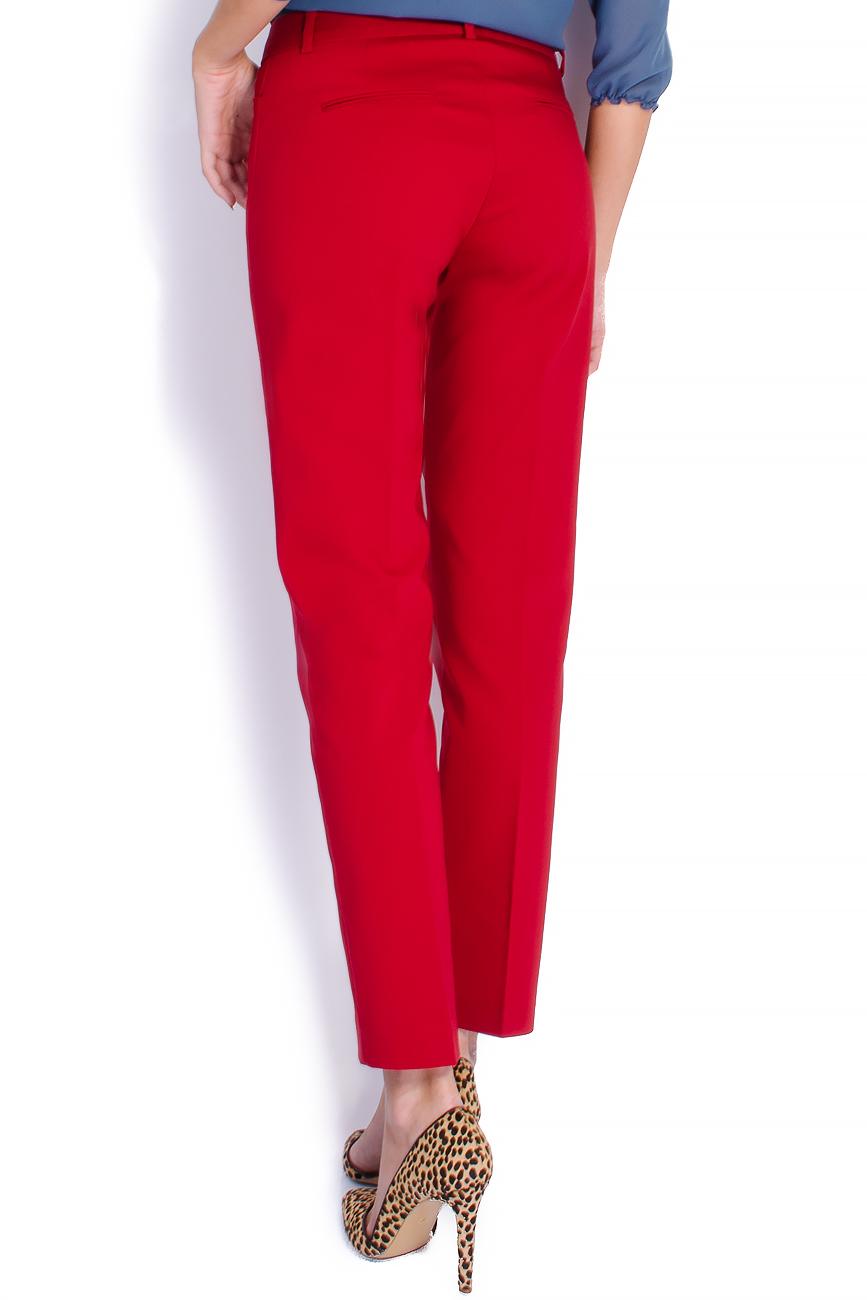 Pantaloni pana din bumbac rosu Lena Criveanu imagine 2