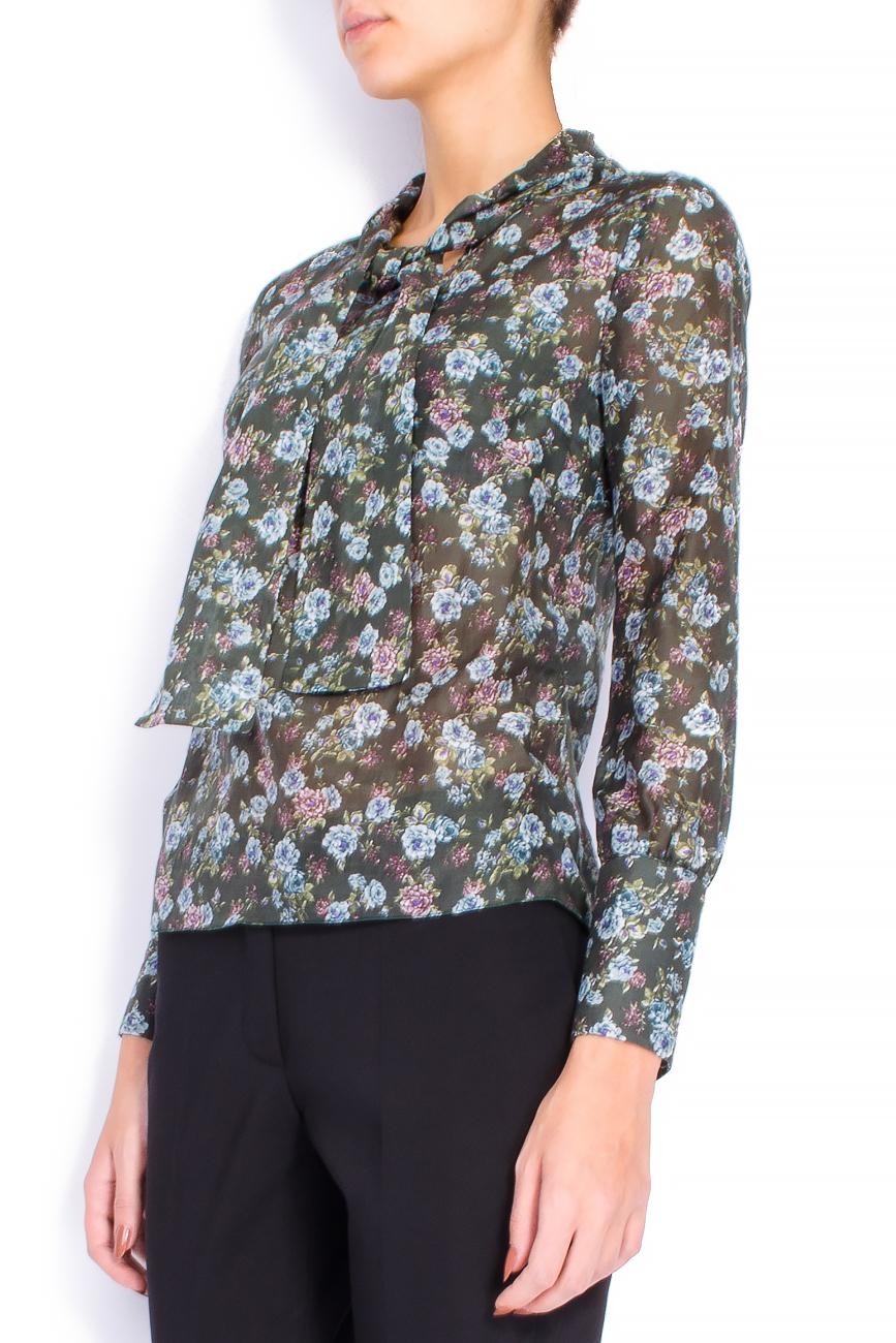 Bluza din voal cu imprimeu si esarfa Lena Criveanu imagine 1