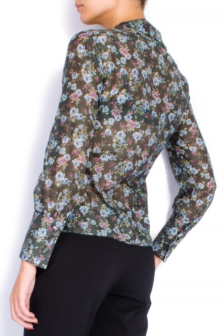 Bluza din voal cu imprimeu si esarfa Lena Criveanu imagine 2