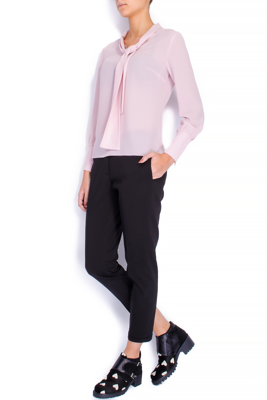 Bluza din voal roz cu esarfa Lena Criveanu imagine 0