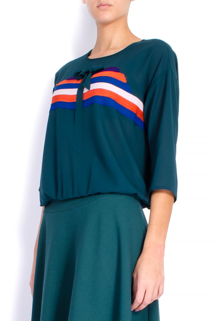 Bluza din voal cu elastic si bieuri Lena Criveanu imagine 1