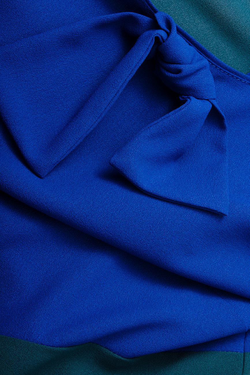 Bluza bicolora din voal cu funda Lena Criveanu imagine 3