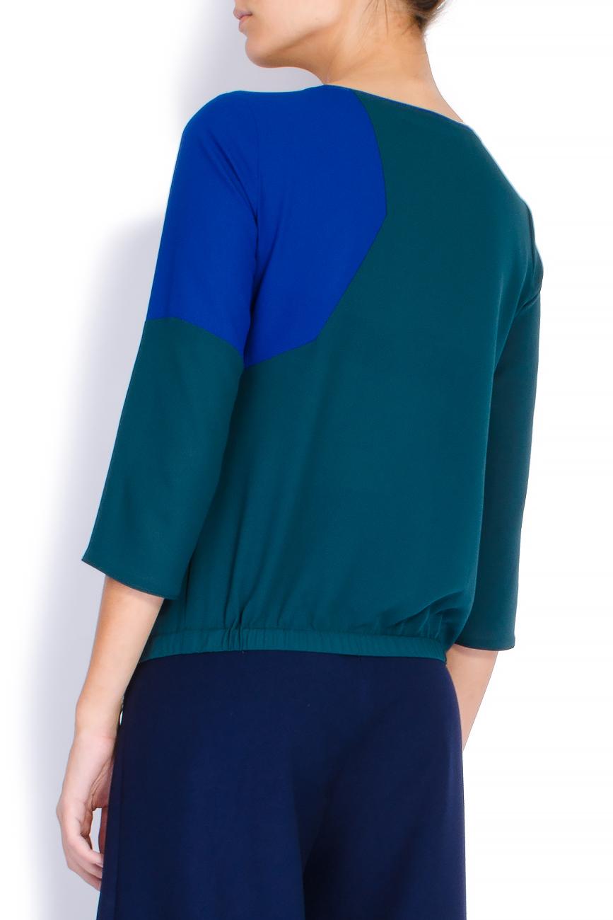 Bluza bicolora din voal cu funda Lena Criveanu imagine 2