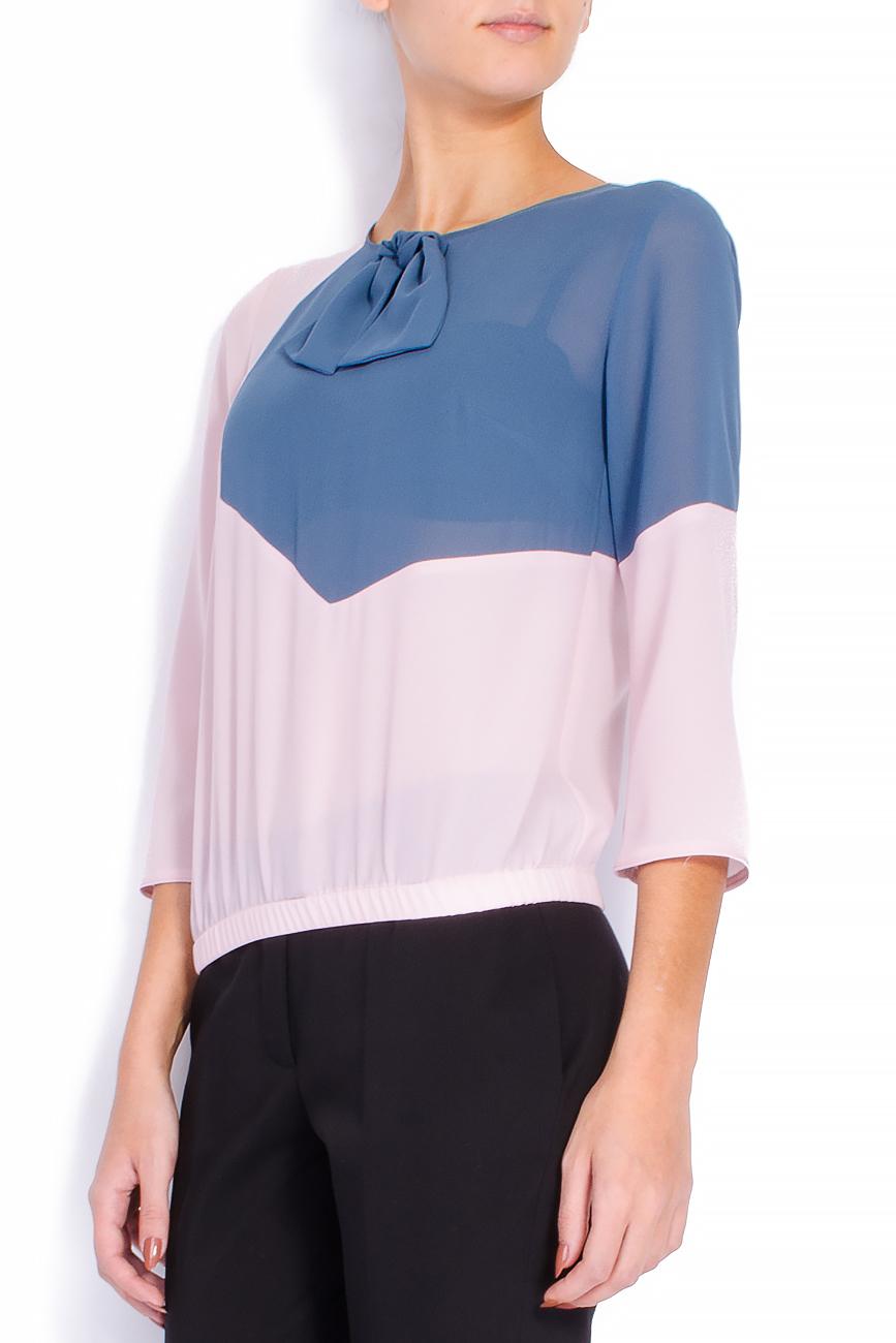 Bluza bicolora din voal cu funda Lena Criveanu imagine 1