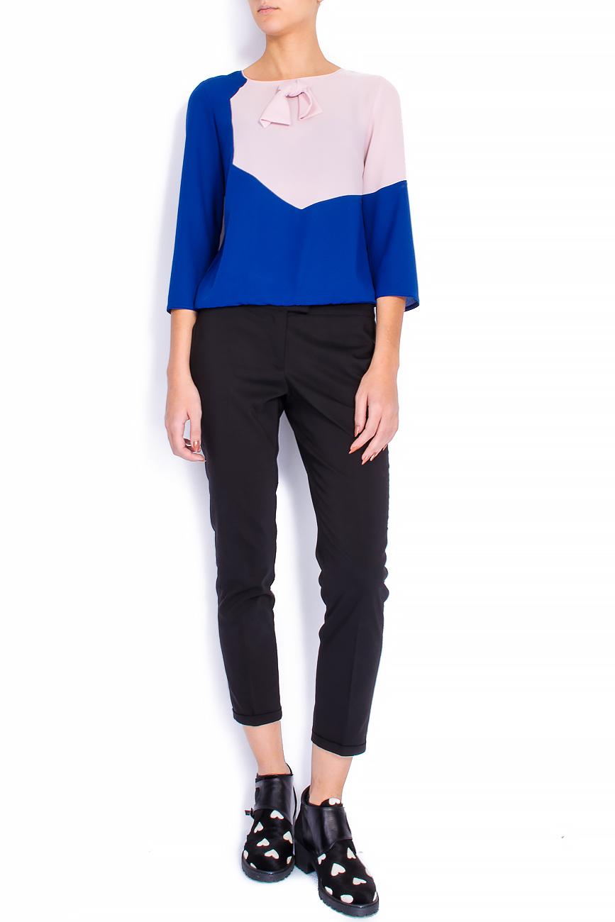 Bluza bicolora din voal cu funda Lena Criveanu imagine 0