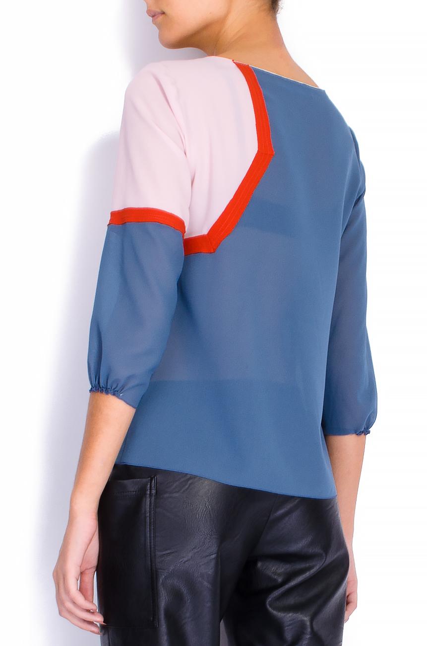 Bluza din voal gri cu bie decorativa  Lena Criveanu imagine 2