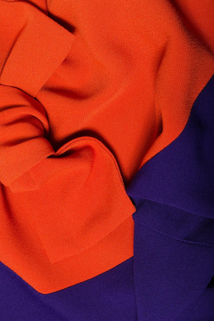 Bluza bicolora din voal cu funda si maneci trei sferturi Lena Criveanu imagine 3