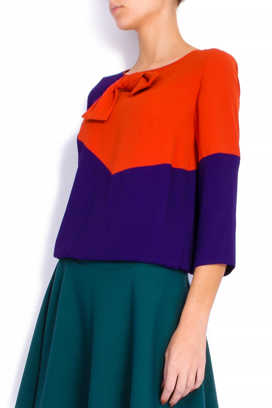 Bluza bicolora din voal cu funda si maneci trei sferturi Lena Criveanu imagine 1