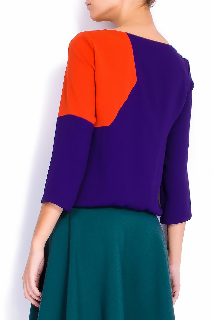 Bluza bicolora din voal cu funda si maneci trei sferturi Lena Criveanu imagine 2
